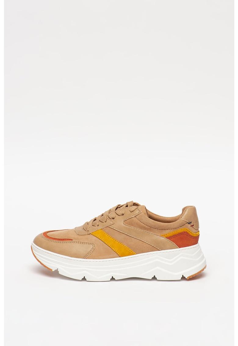 Pantofi sport de piele cu garnituri de piele ecologica