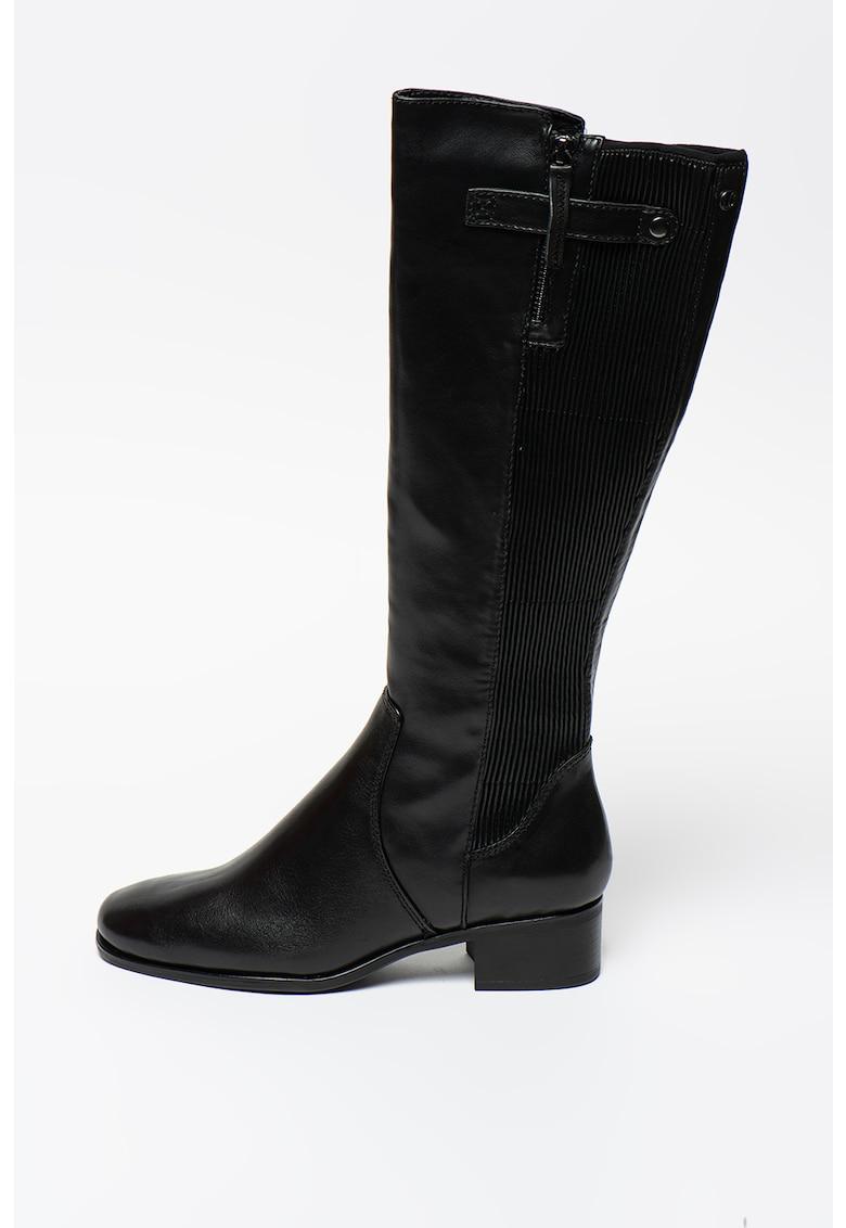 Cizme lungi pana la genunchi de piele cu garnitura de material textil