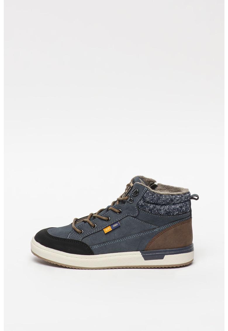 Pantofi sport mid-high cu insertii din piele intoarsa sintetica
