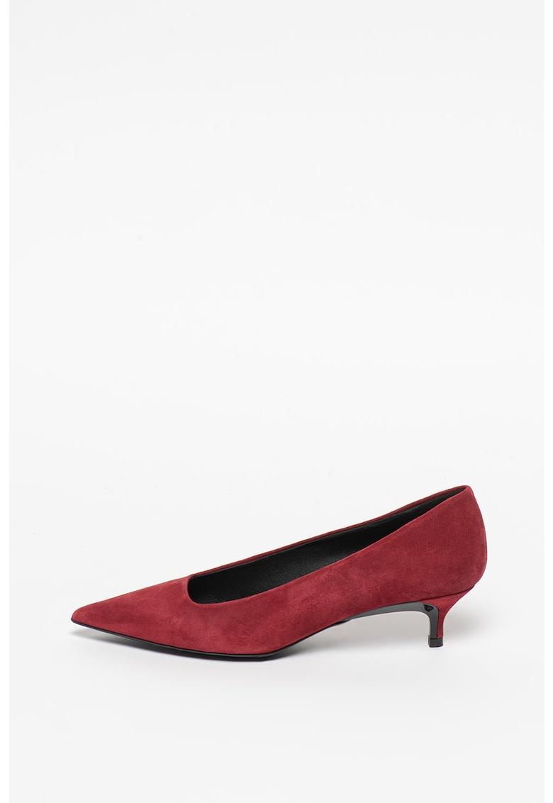 Pantofi de piele intoarsa cu toc si varf ascutit imagine