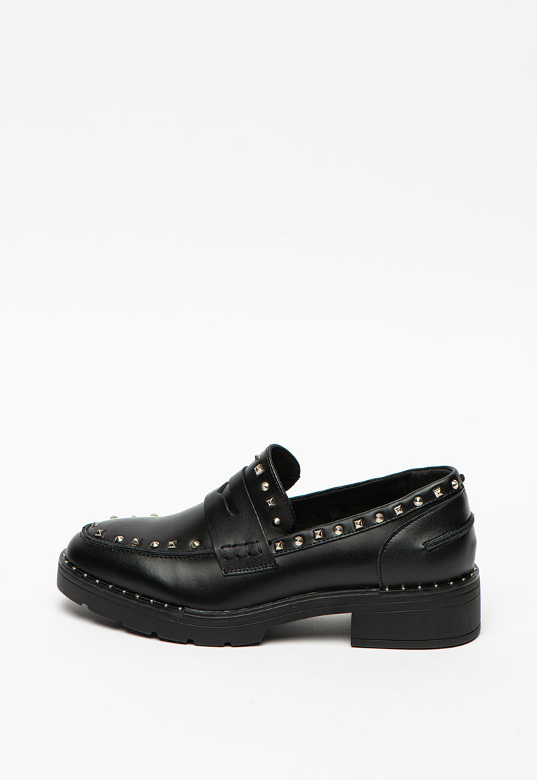Pantofi loafer penny de piele cu tinte si toc masiv imagine