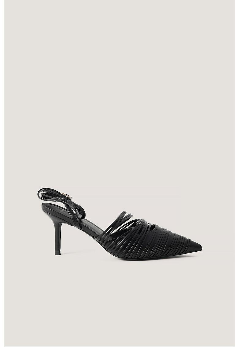 Pantofi slingback de piele ecologica cu varf ascutit