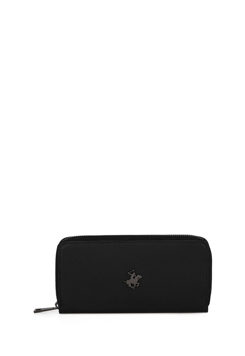 Portofel de piele ecologica cu aplicatie logo metalica imagine fashiondays.ro