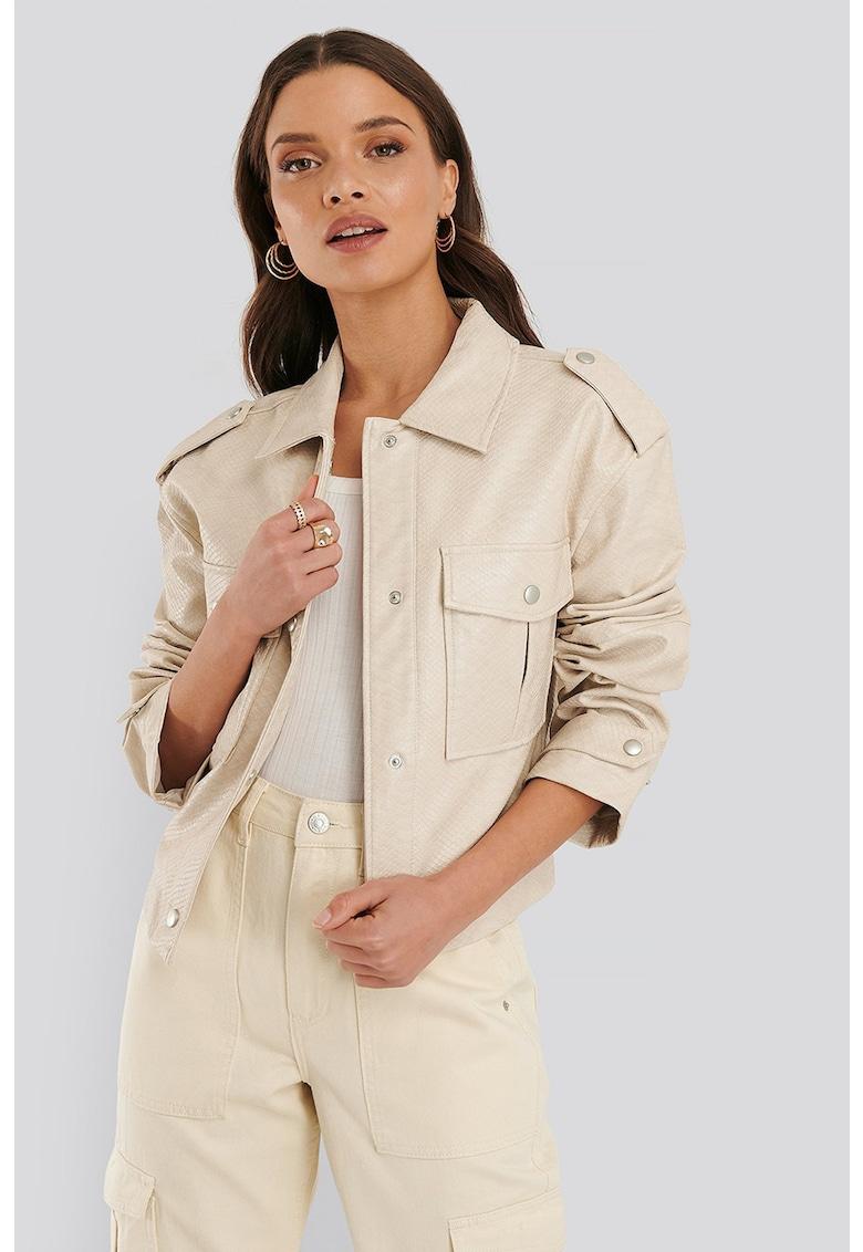 Jacheta de piele ecologica - cu textura cu model piele de sarpe