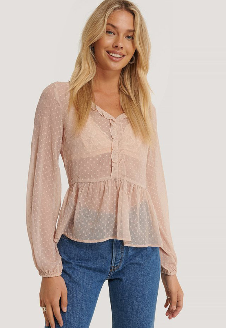 Bluza cu decolteu in V si aspect semitransparent imagine fashiondays.ro
