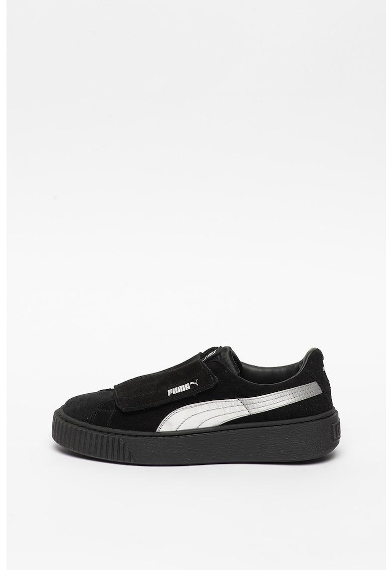Pantofi sport de piele intoarsa cu velcro