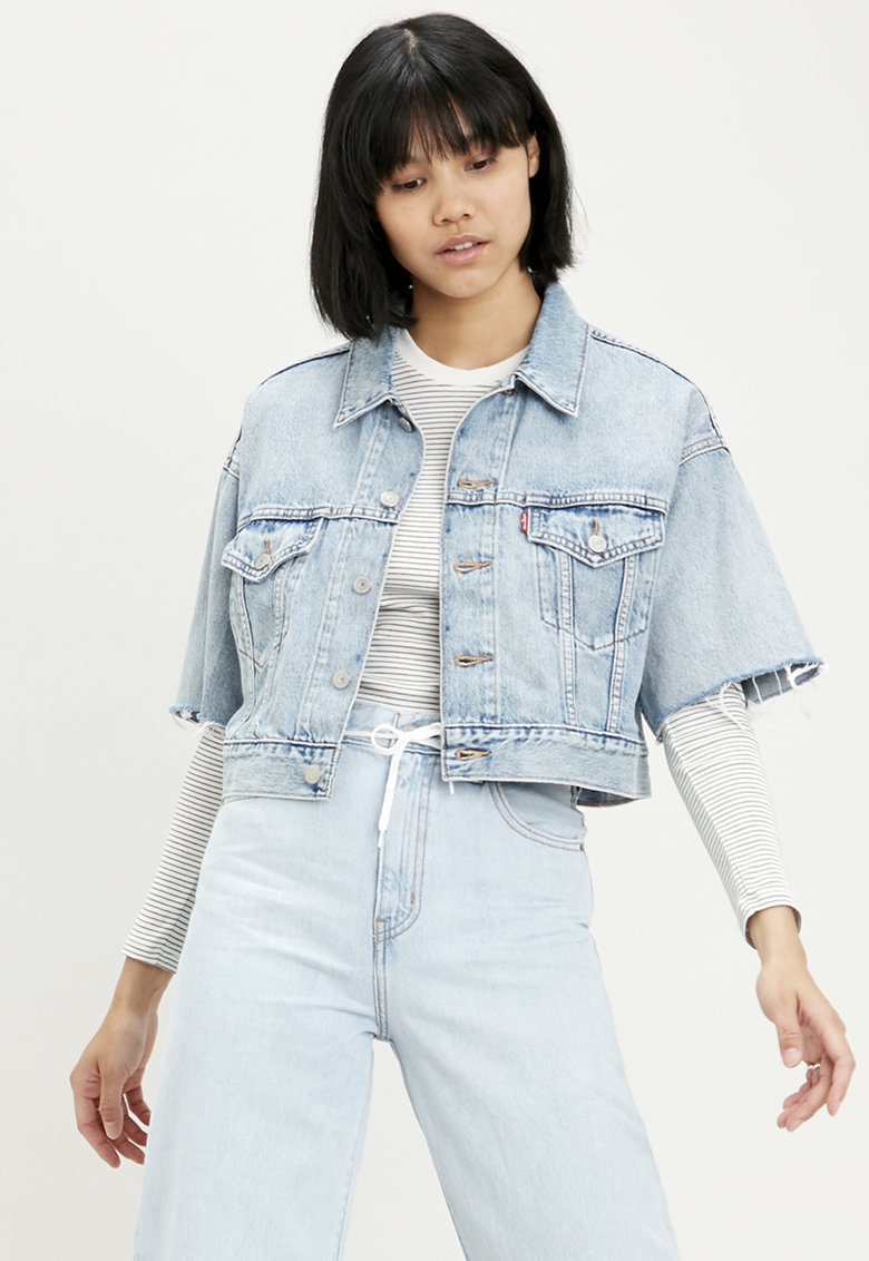 Jacheta crop de denim Jeffrey