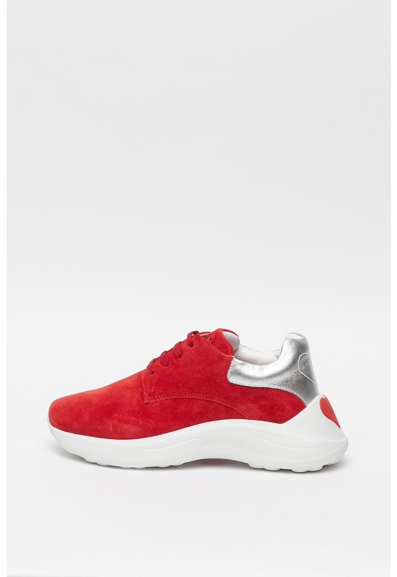 Pantofi sport colorblock cu garnituri de piele intoarsa si piele