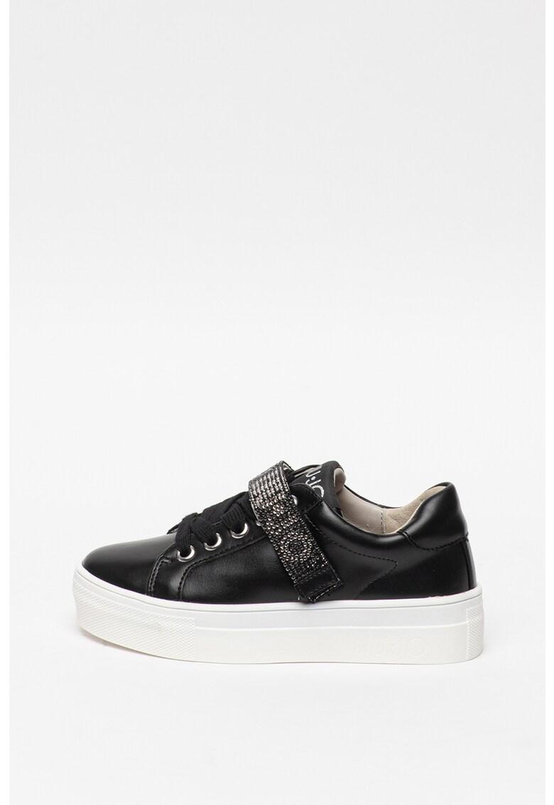 Pantofi sport de piele ecologica - cu logo cu strasuri Alicia 125