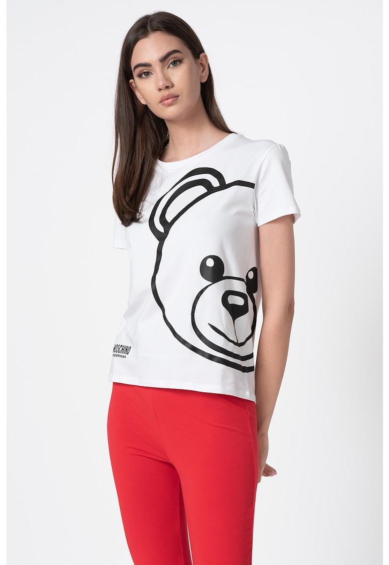 Tricou de casa cu decolteu la baza gatului si imprimeu logo imagine