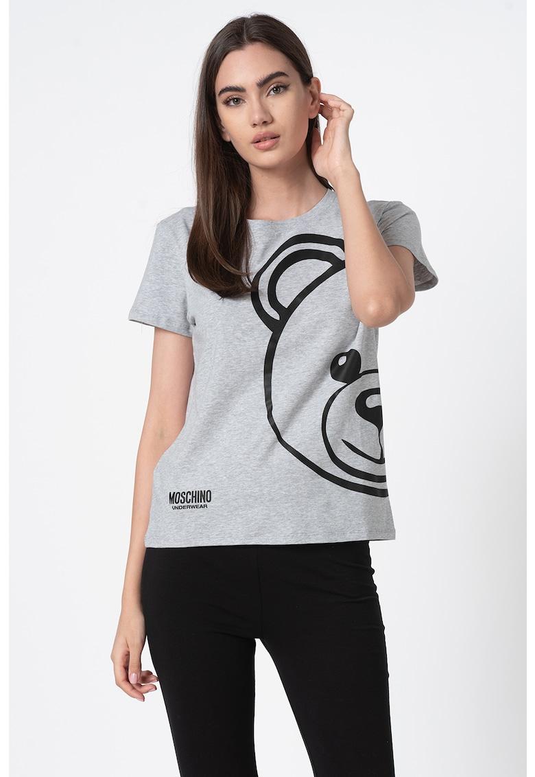 Tricou de casa cu decolteu la baza gatului si imprimeu logo