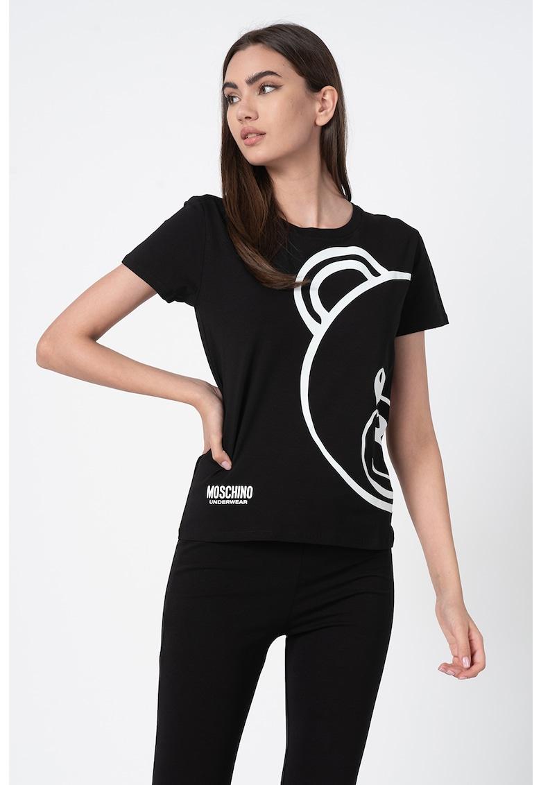 Tricou de casa cu decolteu la baza gatului si imprimeu logo imagine fashiondays.ro