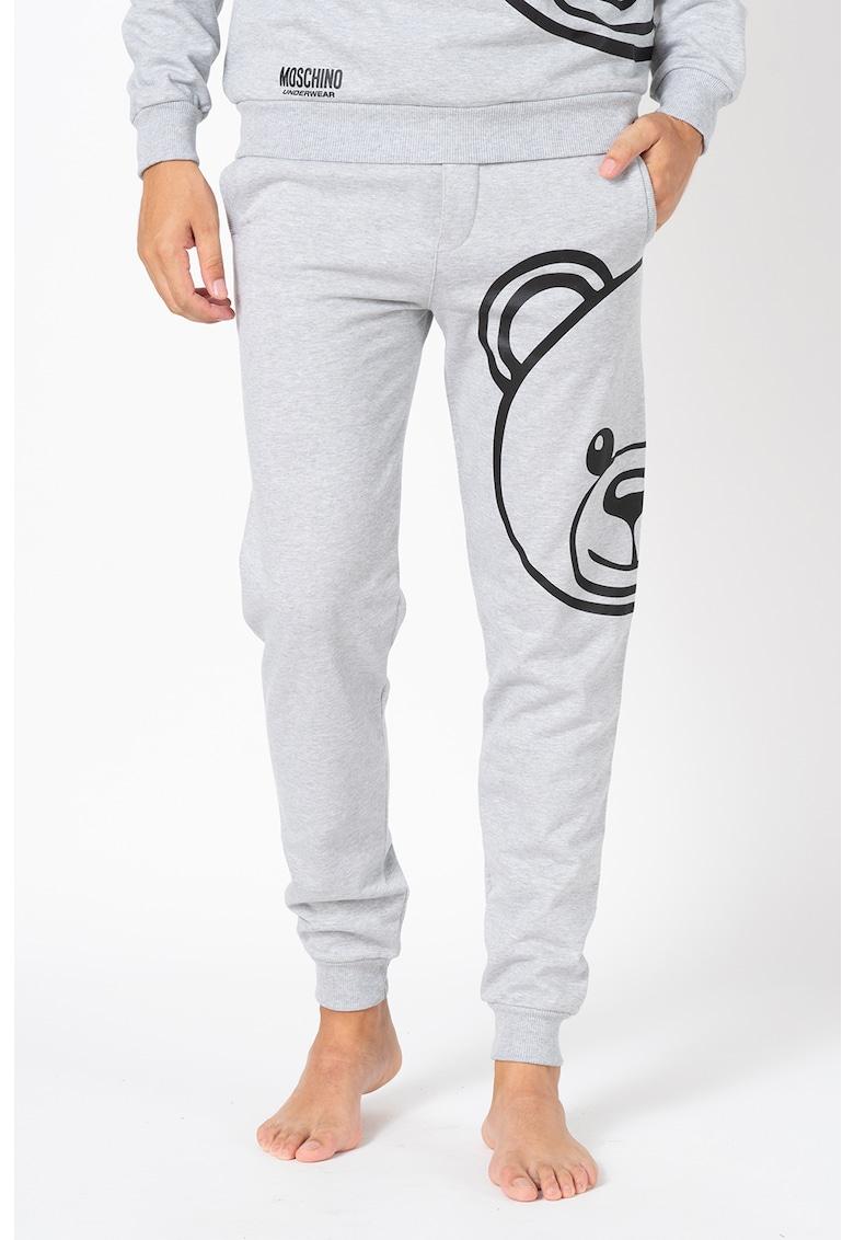 Pantaloni sport de casa cu imprimeu cu ursulet