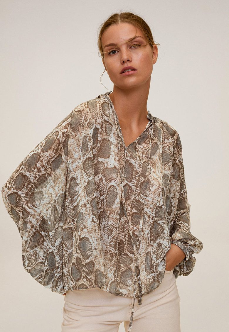 Bluza cu animal print si maneci bufante Serpi imagine