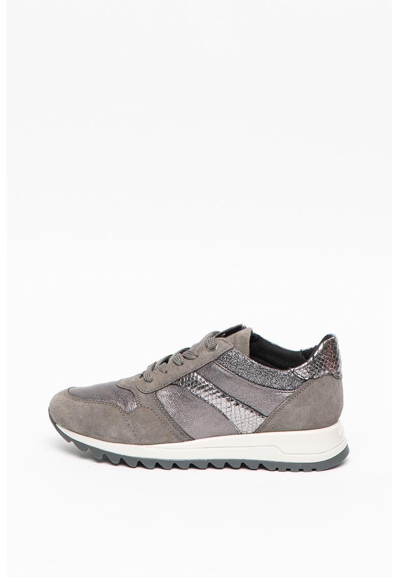Pantofi sport cu insertii de piele si piele intoarsa Tabelya Geox imagine 2021