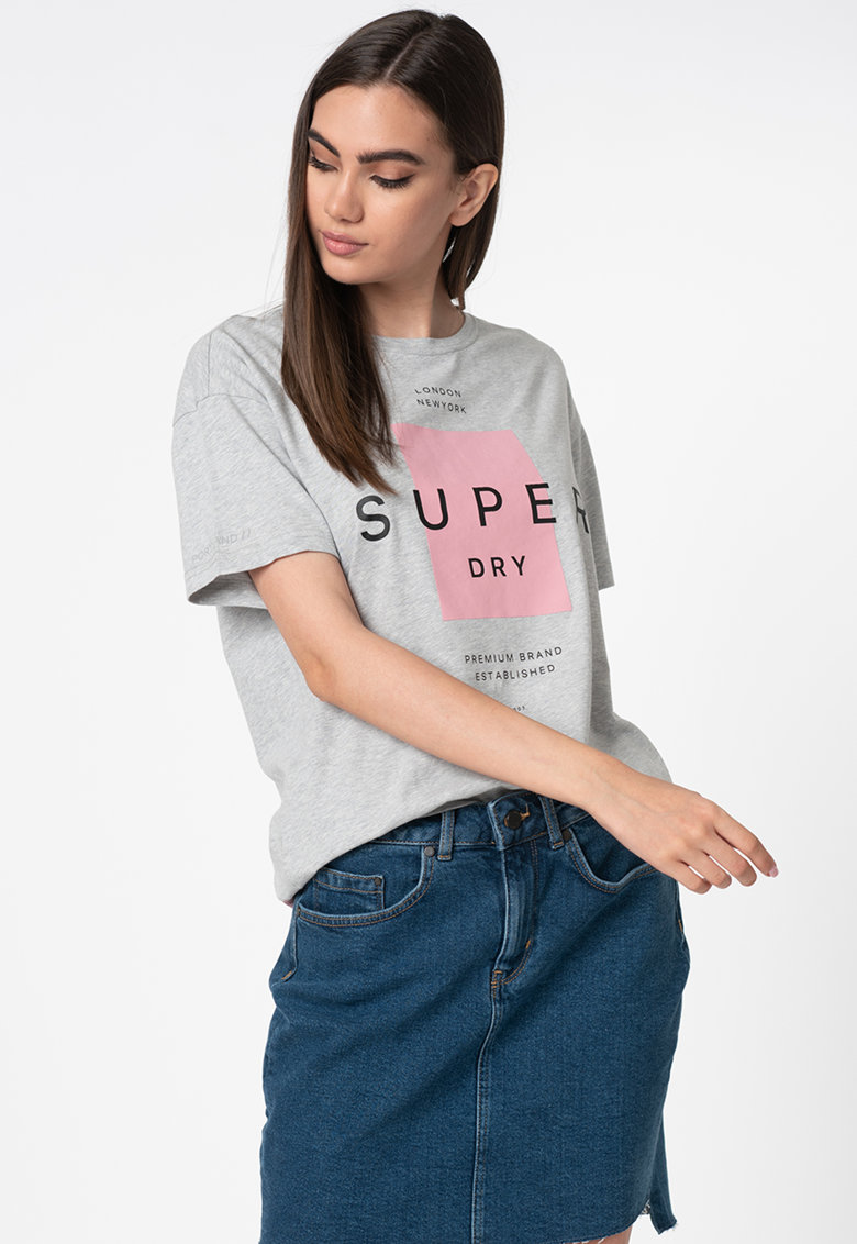 Tricou supradimensionat cu imprimeu logo cauciucat Premium Block