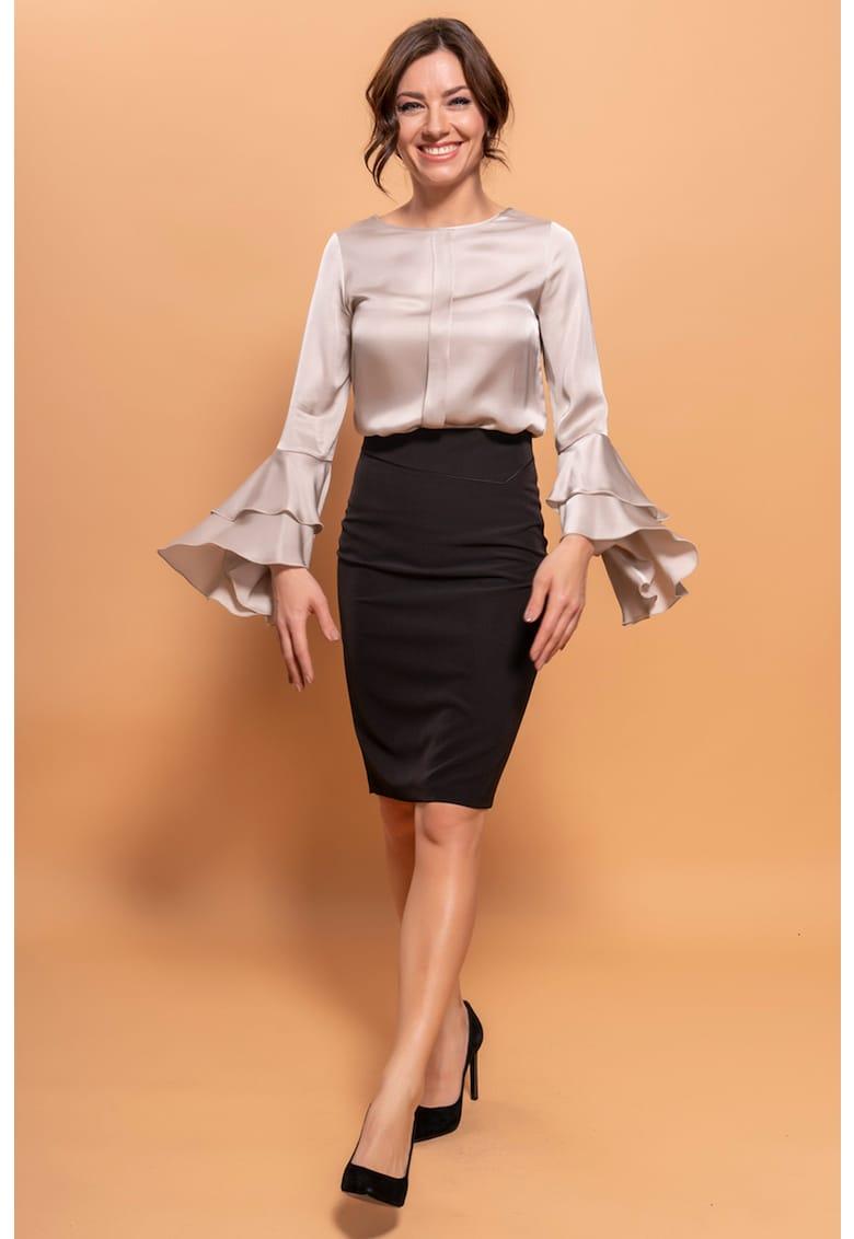 Bluza din satin cu maneci cu model suprapus imagine