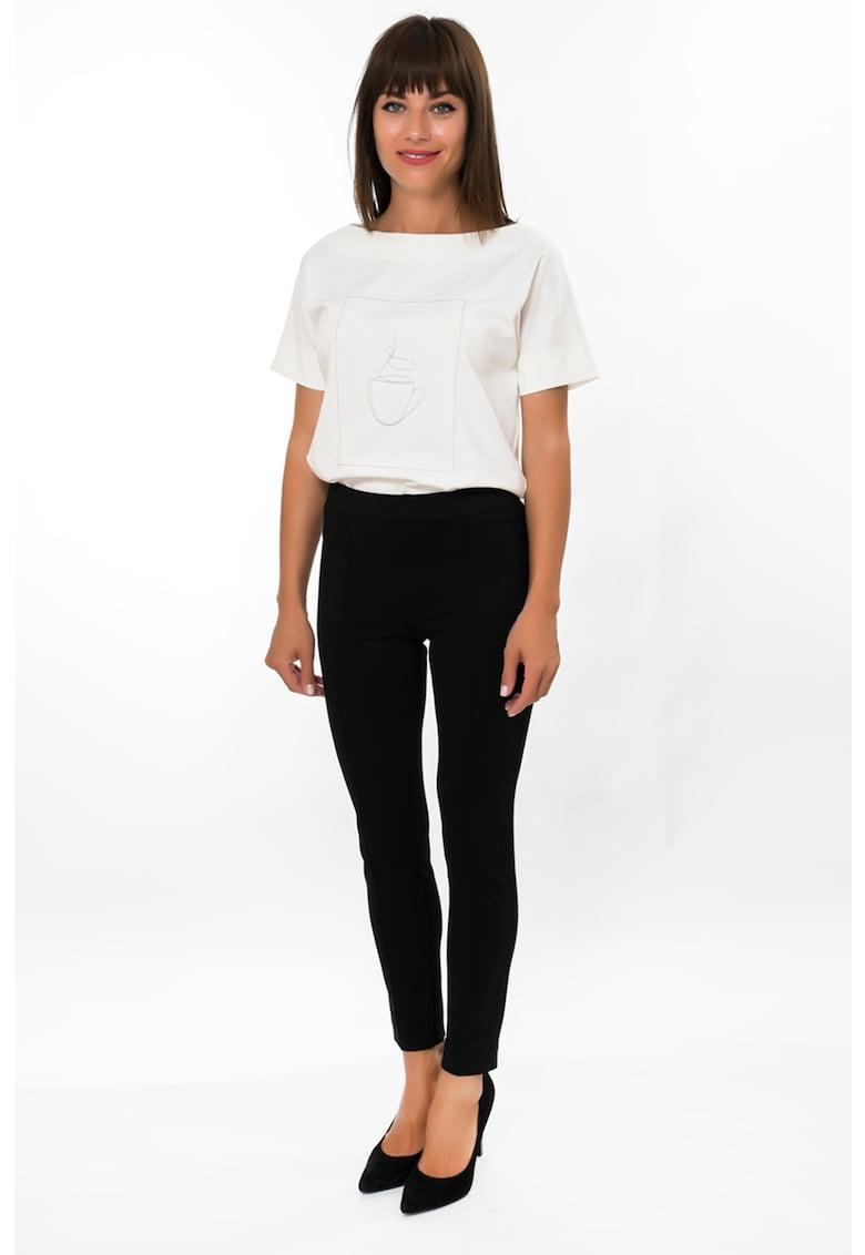 Pantaloni skinny cu buzunare decorative si dunga cusuta imagine