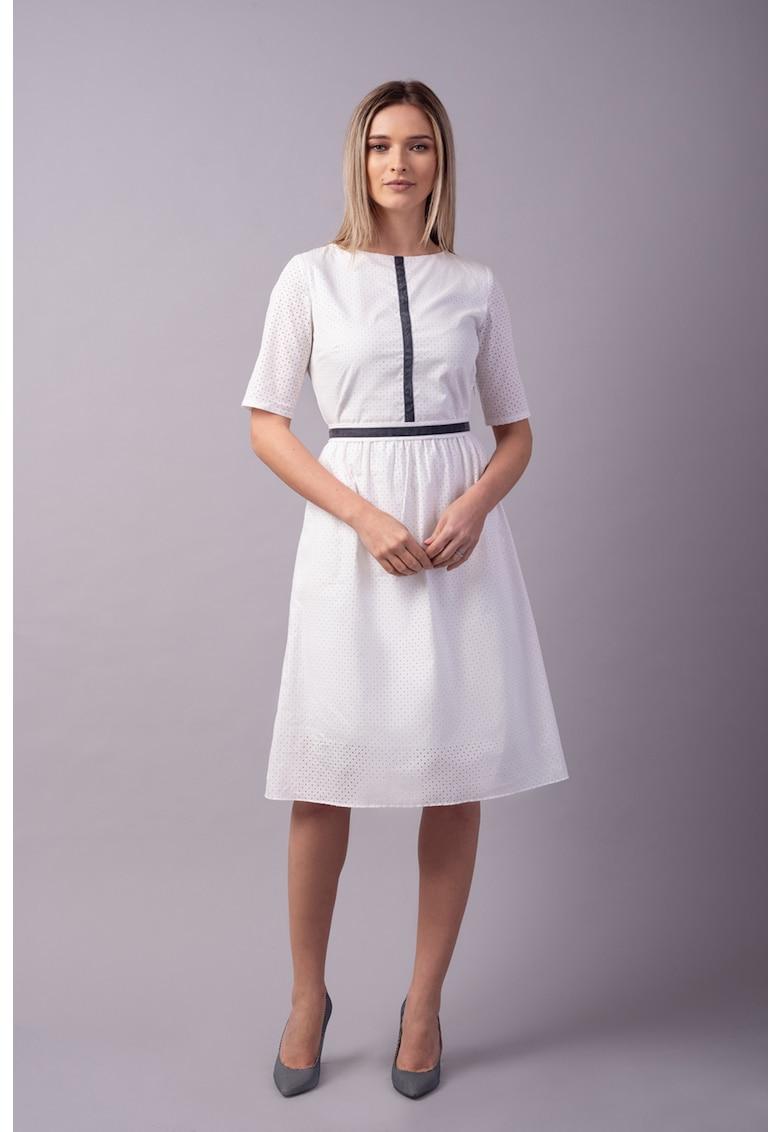 Couture de Marie Rochie midi evazata cu garnituri contrastante