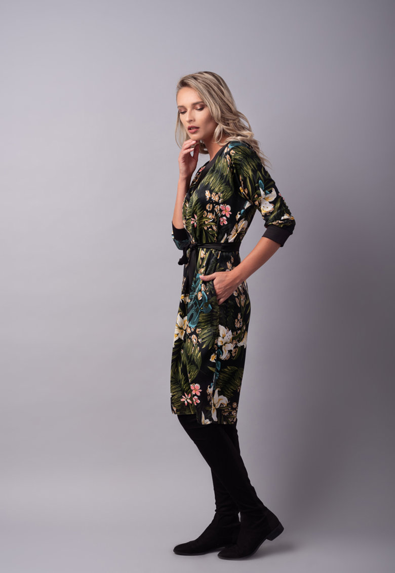 Rochie midi cu model floral Couture-de-Marie imagine 2021