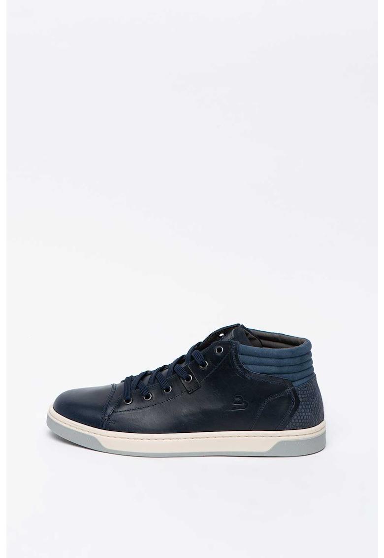 Pantofi sport cu aplicatie cap-toe si detaliu cu aspect piele de sarpe