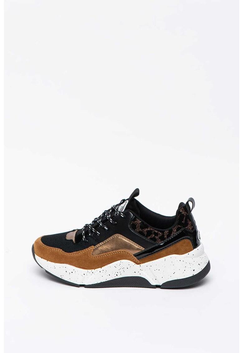Pantofi sport wedge cu detalii lacuite