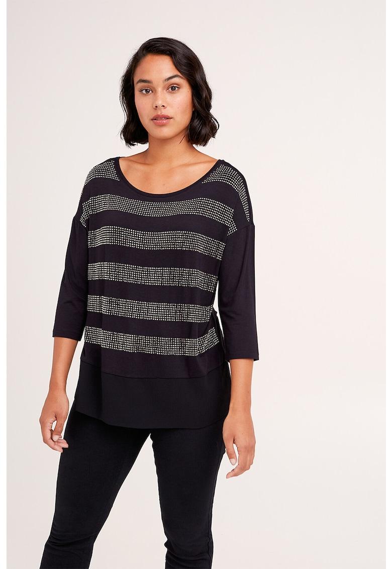Bluza cu strasuri - model in dungi si aspect 2in1 imagine