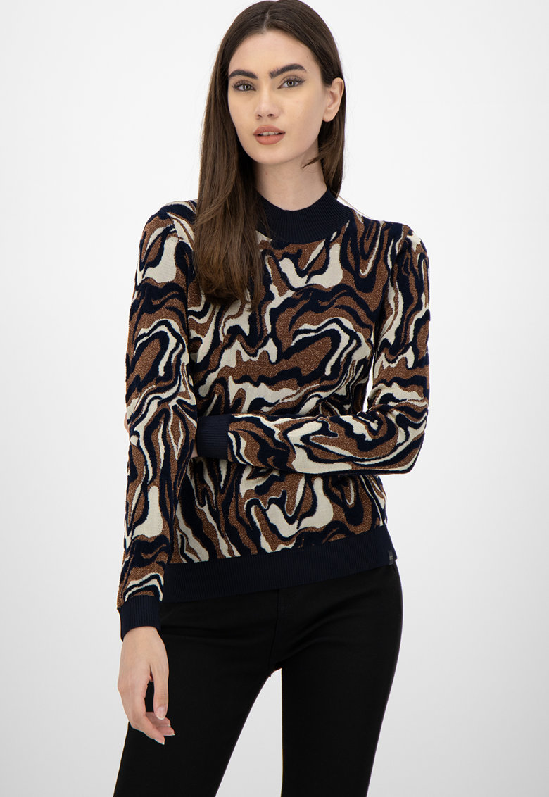 Pulover cu model abstract si insertii din lurex