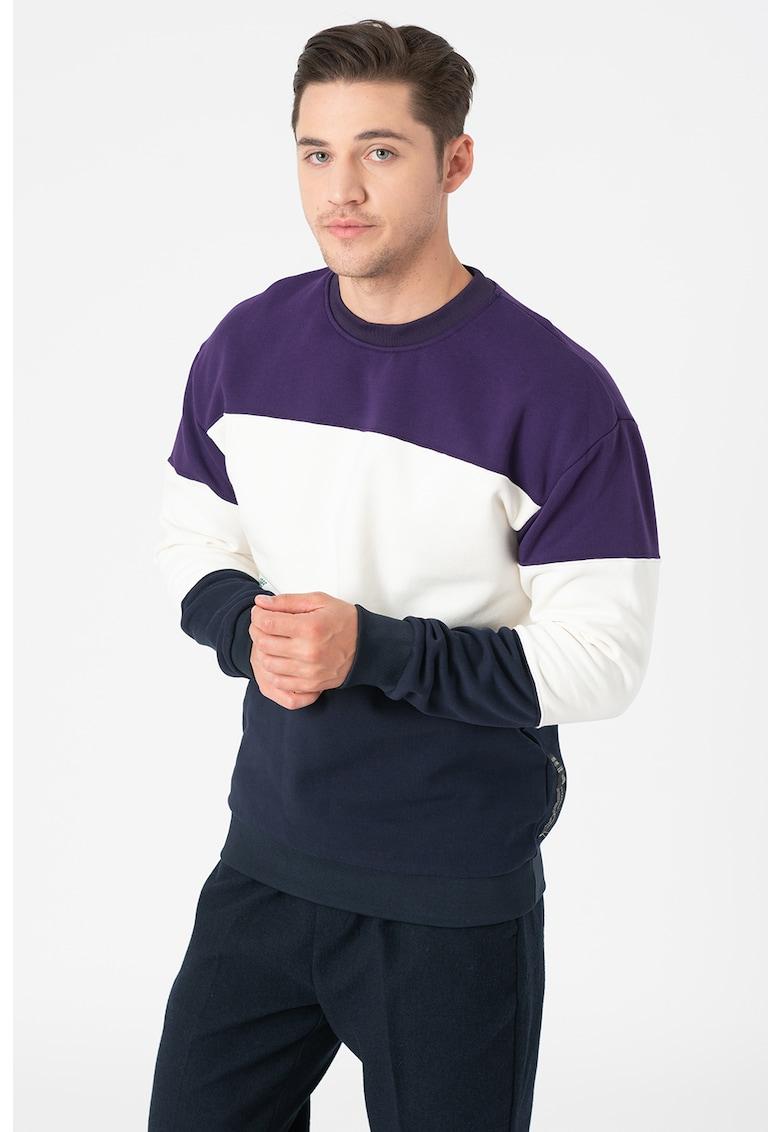 Bluza sport cu decolteu la baza gatului si model in dungi imagine