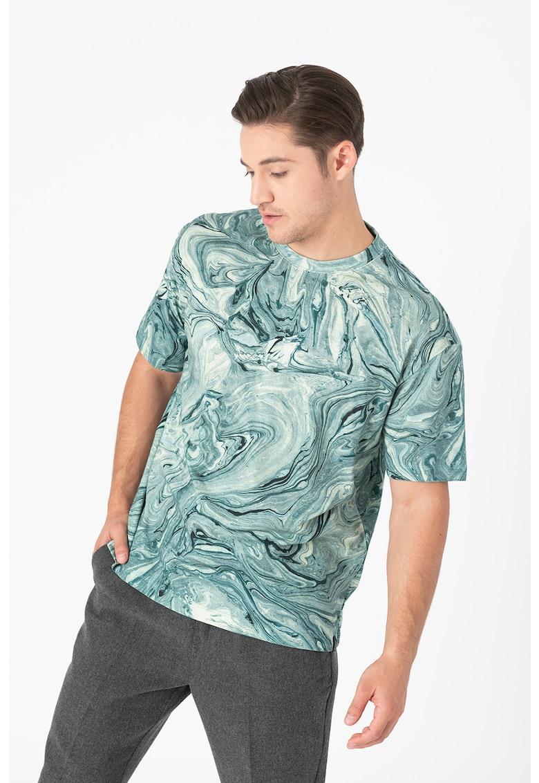 Tricou lejer din bumbac cu imprimeu marmura
