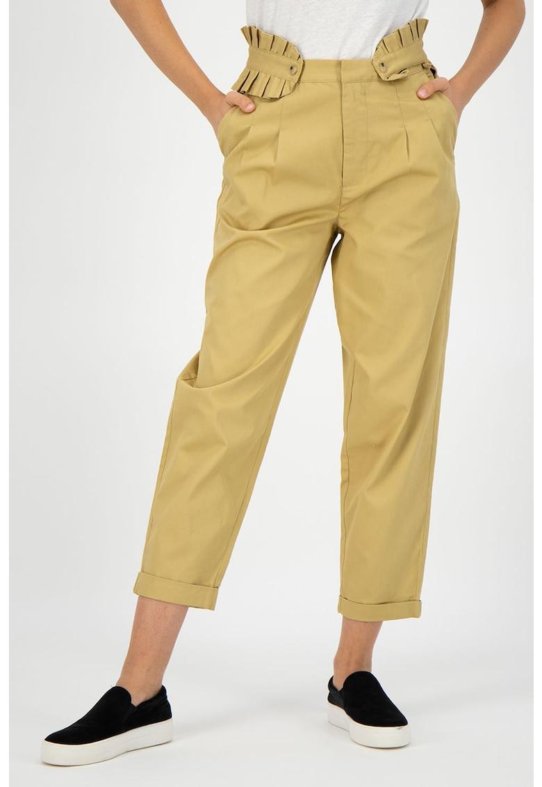 Pantaloni crop cu garnituri plisate