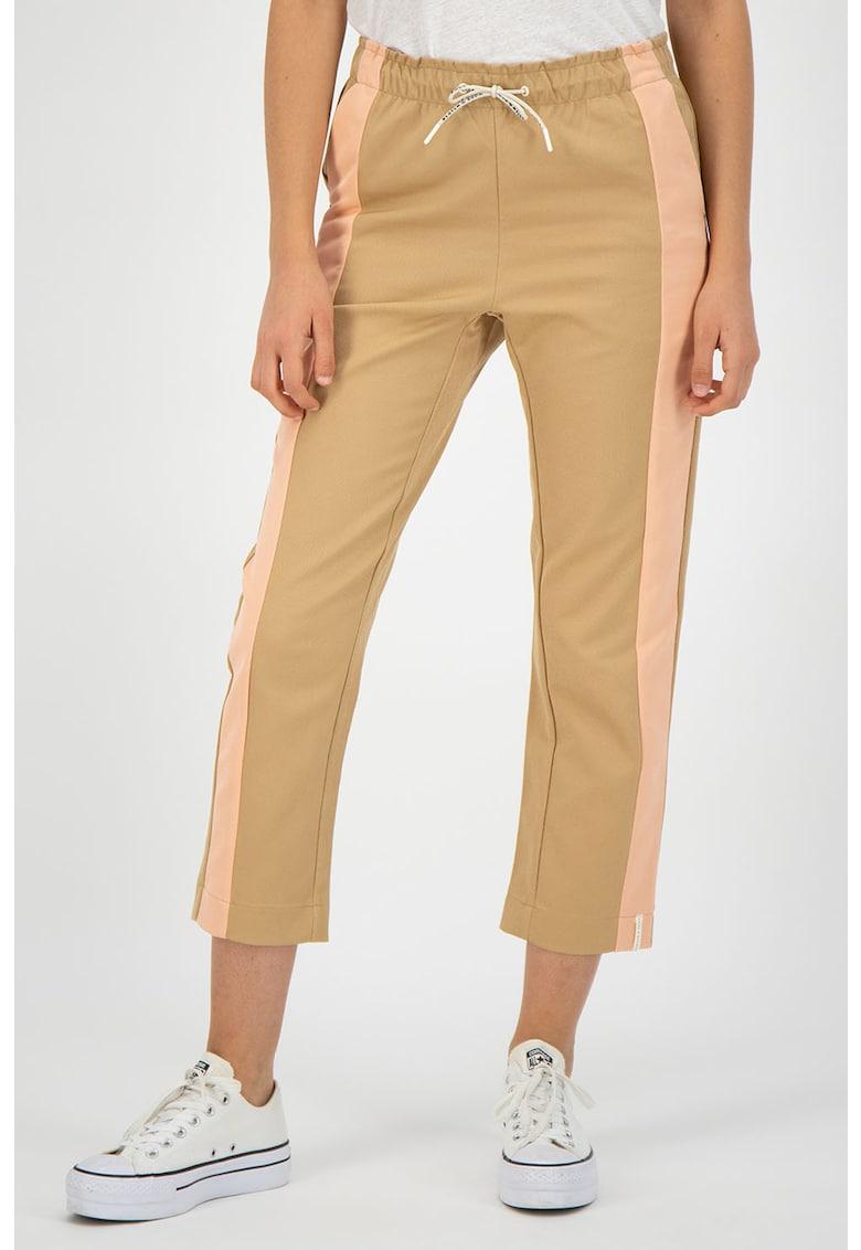 Pantaloni jogger crop - cu garnituri laterale contrastante