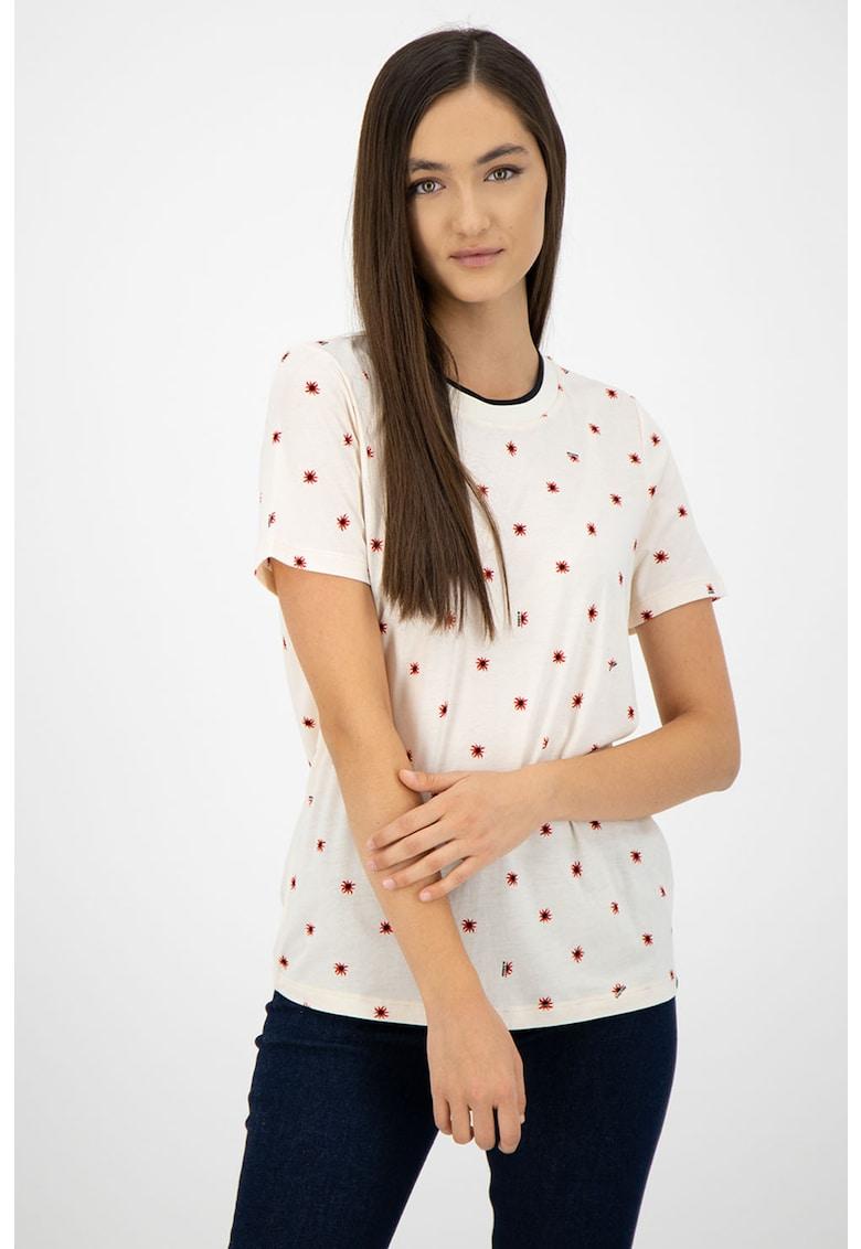 Tricou din amestec de modal cu imprimeu grafic imagine fashiondays.ro
