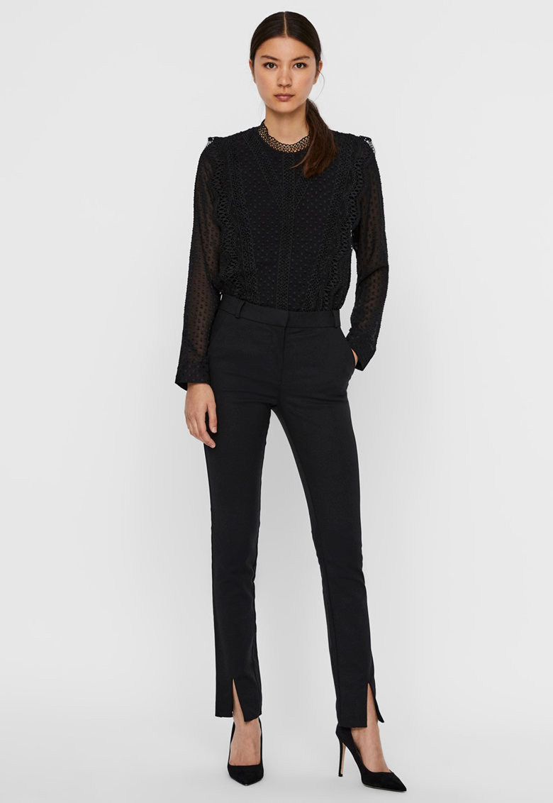 Pantaloni eleganti cu slituri frontale