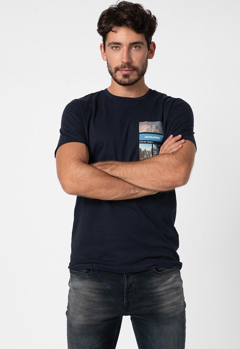 Tricou cu decolteu la baza gatului - logo si imprimeu foto 33