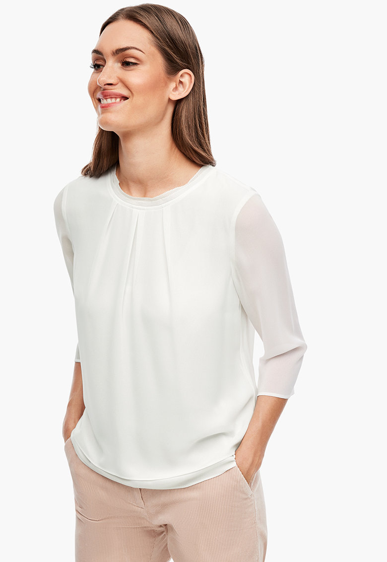 Bluza cu maneci transparente si aspect stratificat s.Oliver fashiondays.ro