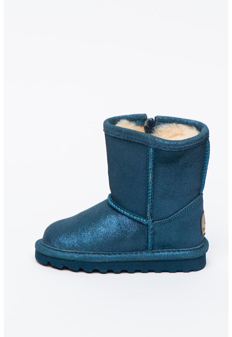Ghete de piele intoarsa cu captuseala de lana si aspect lucios Emma imagine fashiondays.ro