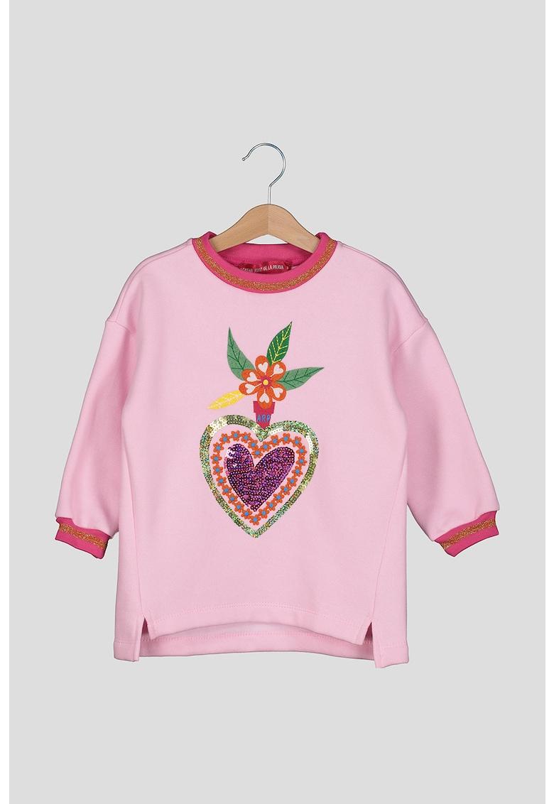 Bluza sport cu aplicatie inima cu strasuri