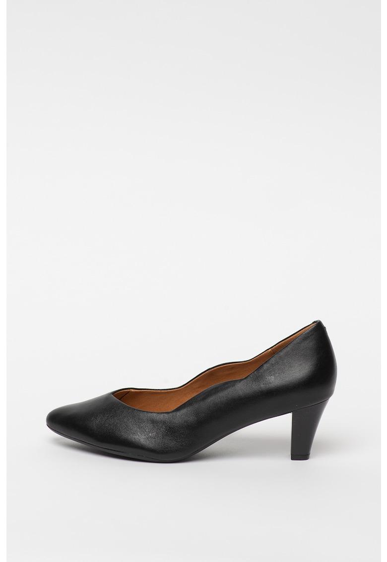 Caprice Pantofi de piele cu varf ascutit si toc masiv