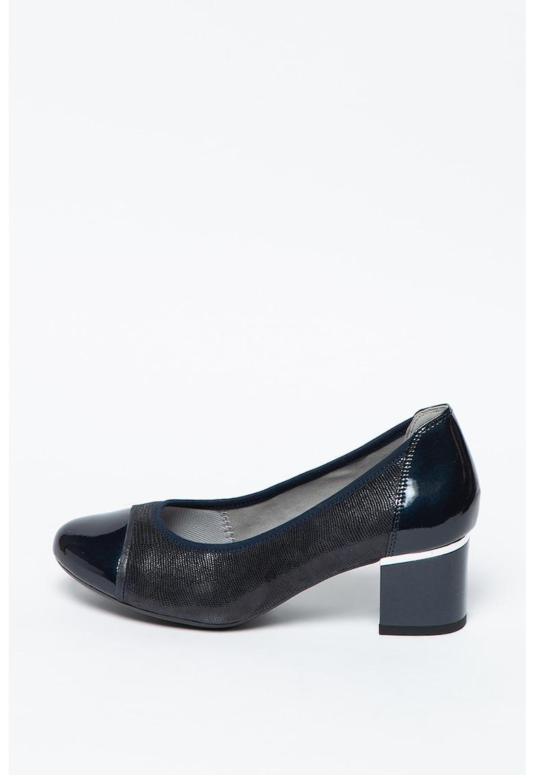 Caprice Pantofi din piele si piele lacuita cu toc inalt