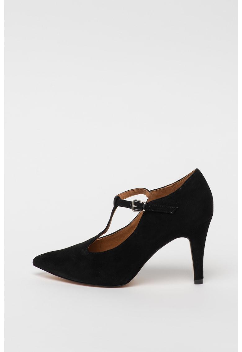 Pantofi de piele intoarsa cu toc clasic