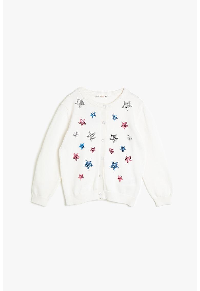 Cardigan din tricot fin cu aplicatii stea de paiete
