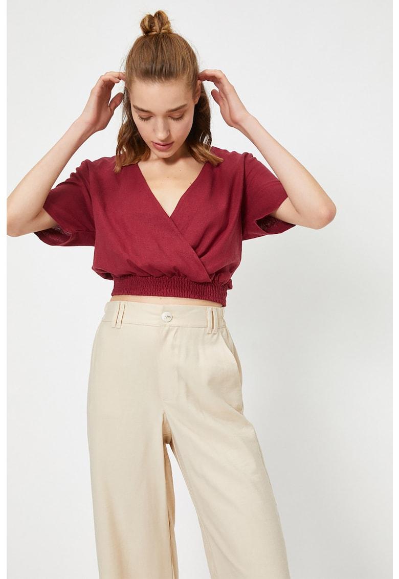Bluza crop din amestec de in imagine fashiondays.ro KOTON