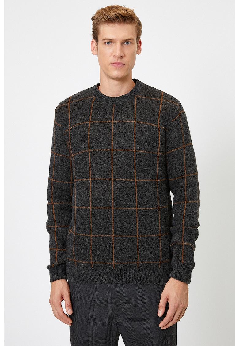 Pulover slim fit din amestec de lana