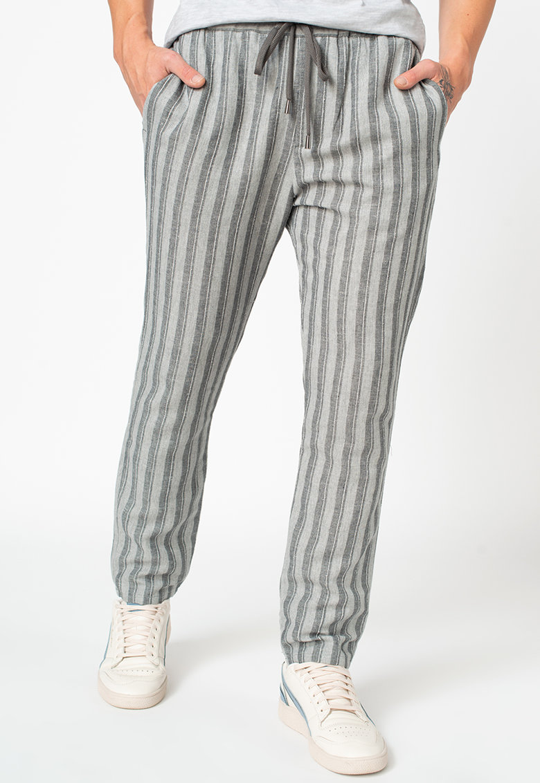 Pantaloni din amestec de in - in dungi