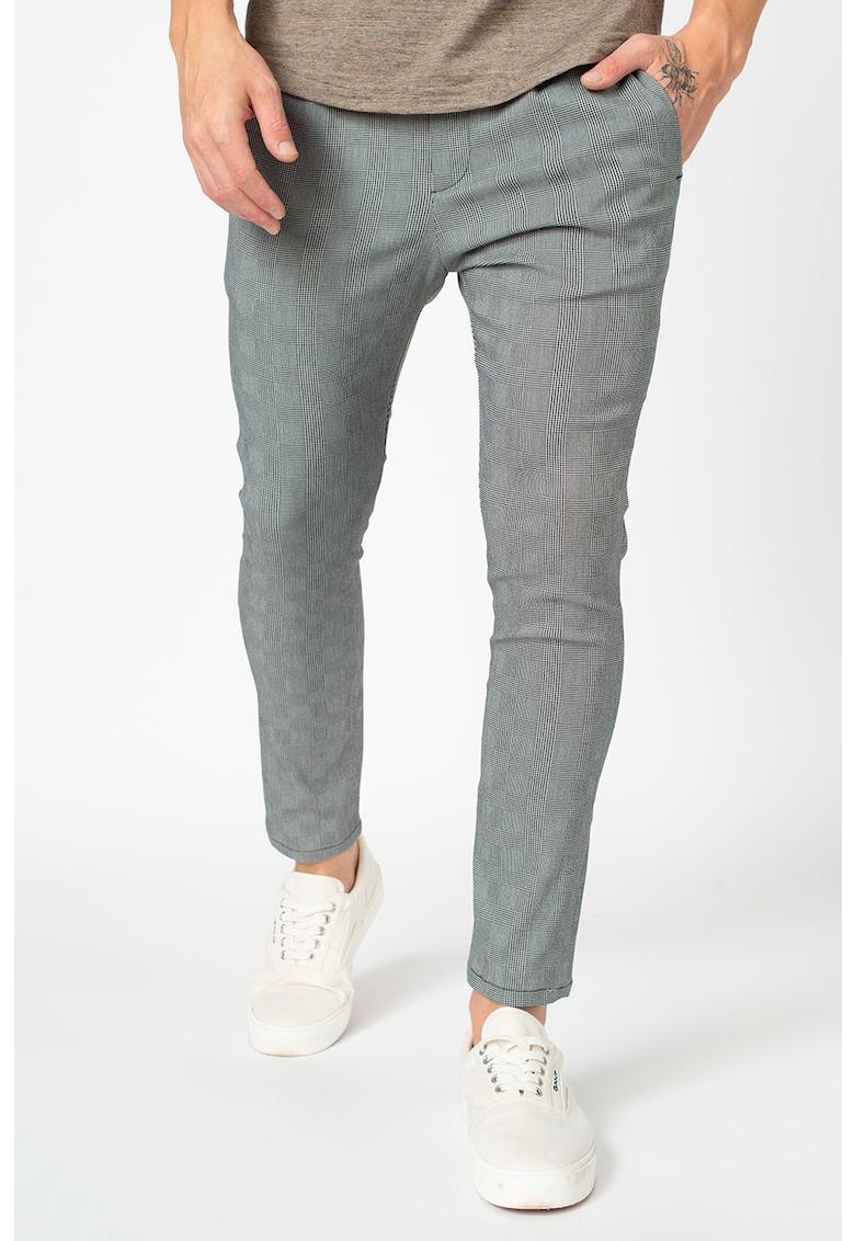 Pantaloni crop cu model in carouri de la XAGON