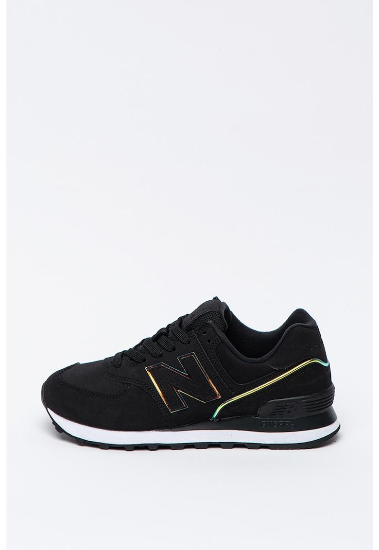 Pantofi sport de piele cu aplicatie cu monograma 574