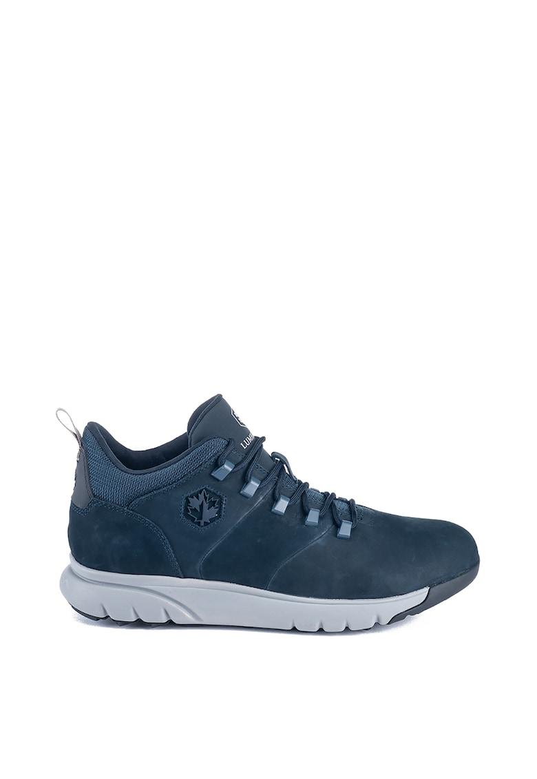 Pantofi sport din piele nabuc cu logo