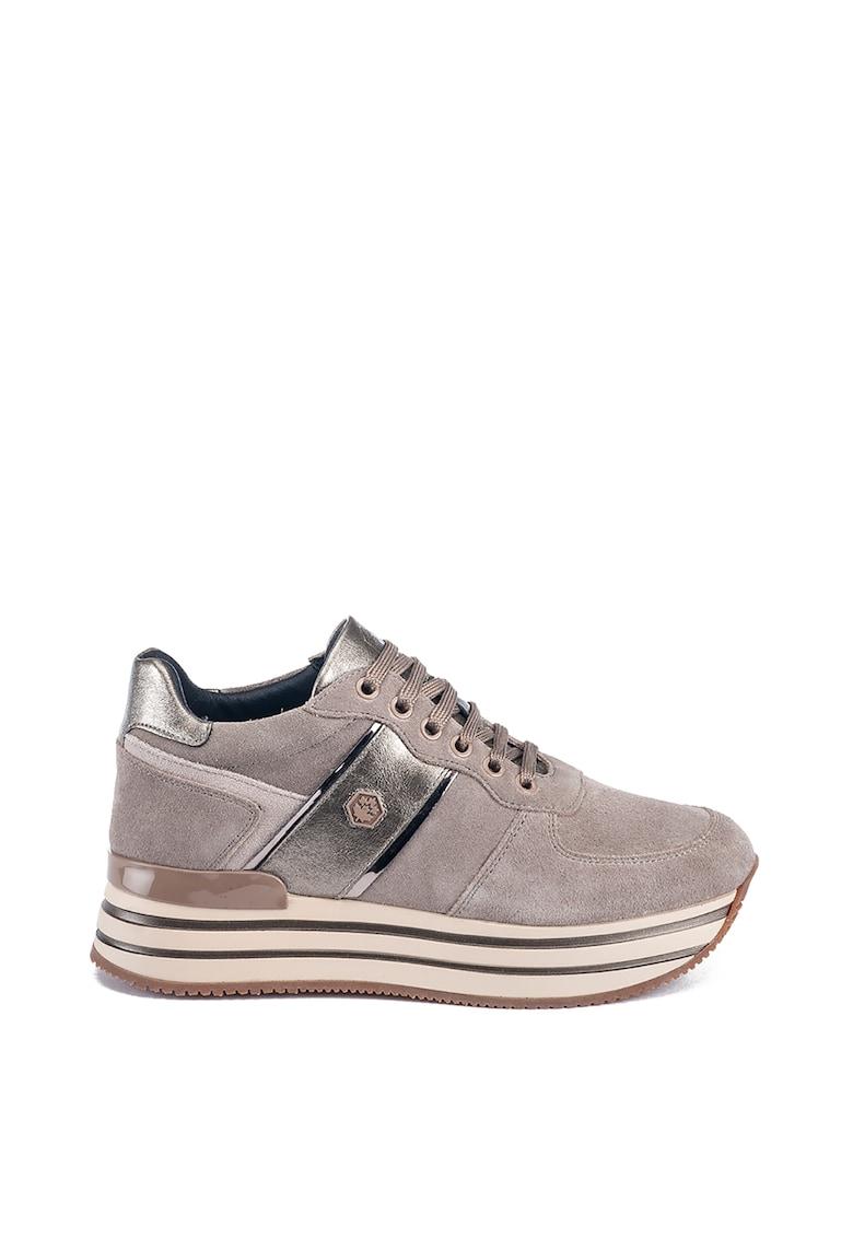 Pantofi sport din piele intoarsa cu garnituri din piele ecologica
