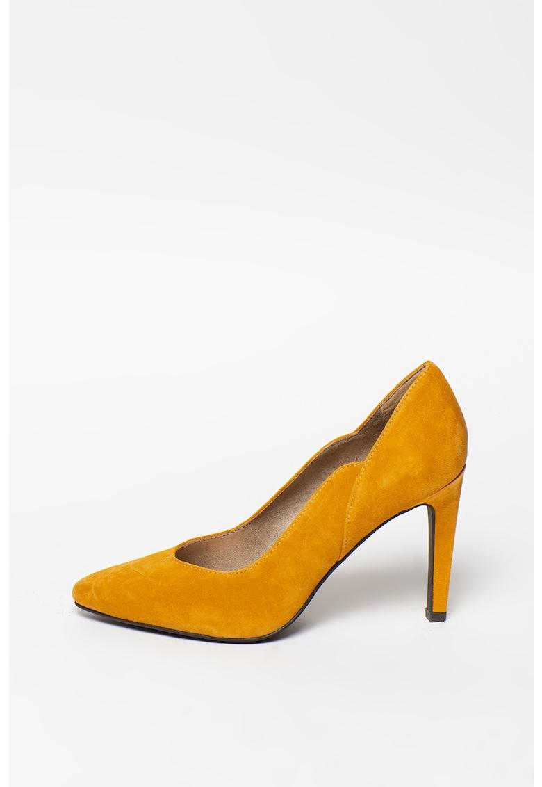Pantofi stiletto de piele intoarsa cu varf ascutit